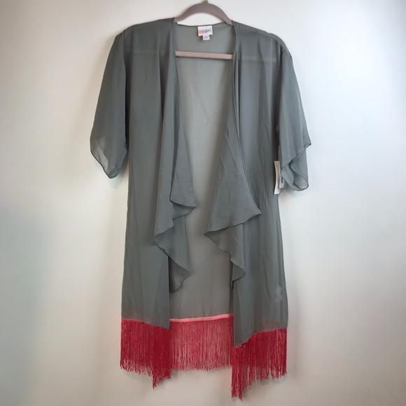 f8a0413035 LuLaRoe Sweaters | Monroe Sheer Grey Pink Fringe Kimono Cover | Poshmark